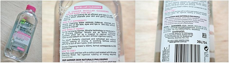 Garnier Micellar Cleansers Make Up Remover Ingredients