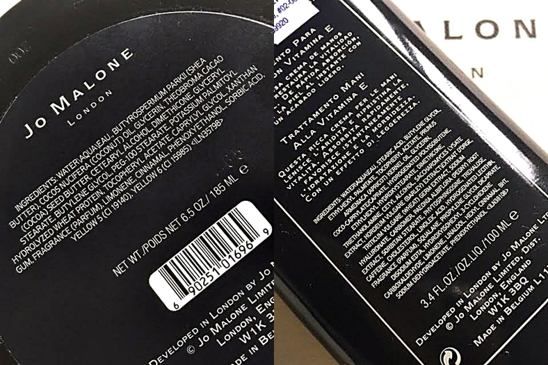 Jo Malone Body Moisturizer & Hand Cream Ingredients